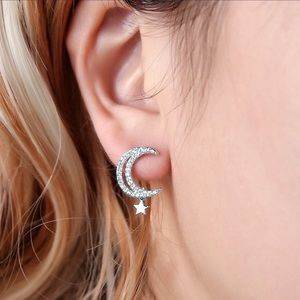 2/$20! Silver Crystal Pave Half Moon/Star Earrings